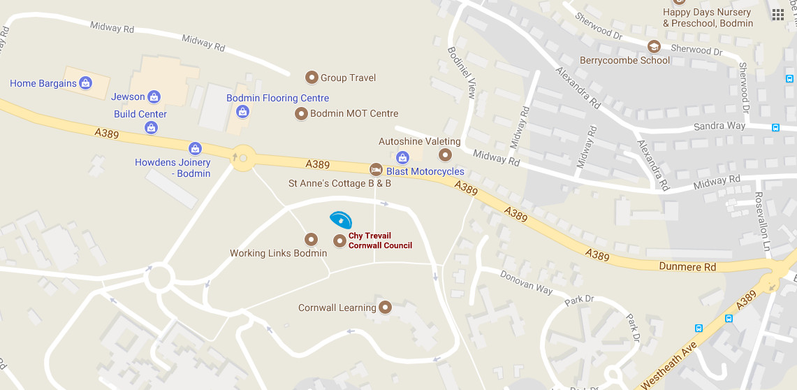 Map showing Bodmin Library
