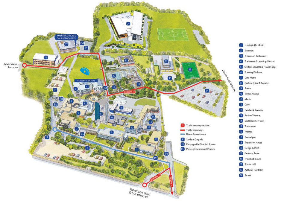 Cornwall College Pool Campus Map
