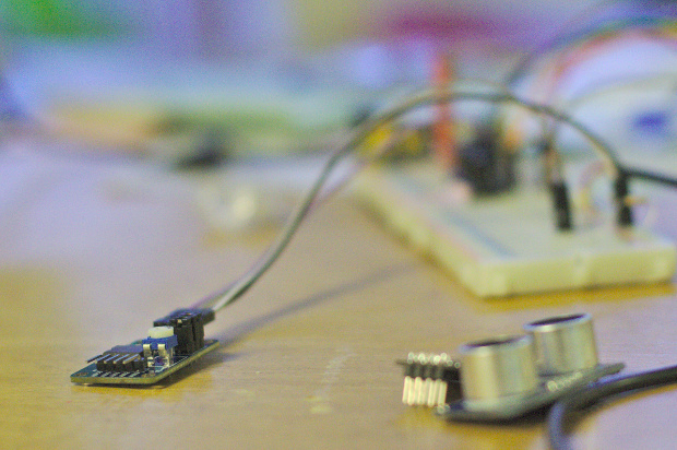 Close up of an ESP8266 module connect to a breadboard