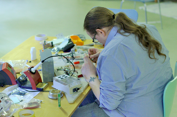 Hard at work soldering at the Eden of Things project