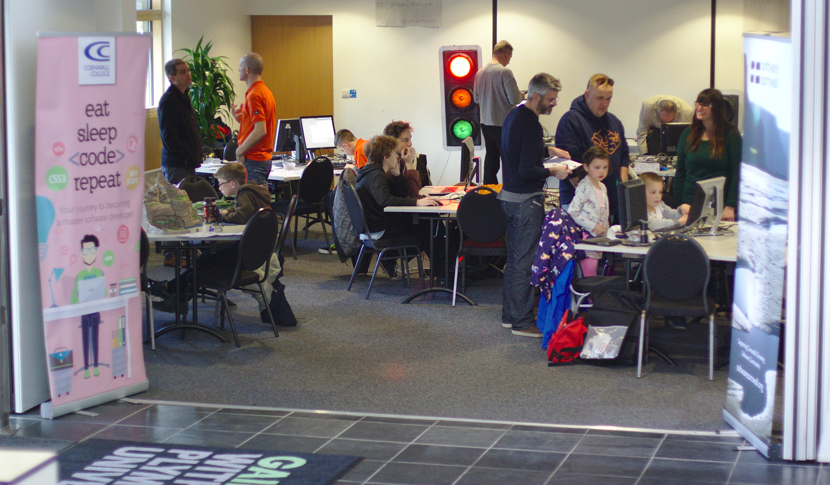 Photograph showing a hive of activity at April's Tech Jam